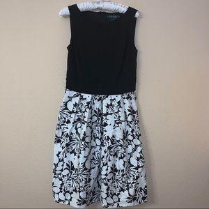 Lauren Ralph Lauren Black White Floral Dress NWT